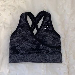 Gymshark Camo Seamless Sports Bra - Black